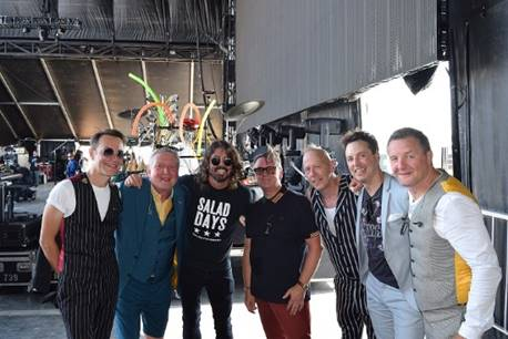 Photo credit: Cole Anderson. (From left to right: Stephen Large, Glenn Tilbrook, Dave Grohl, Chris Difford, Simon Hanson, Sean Hurley, Steven Smith)